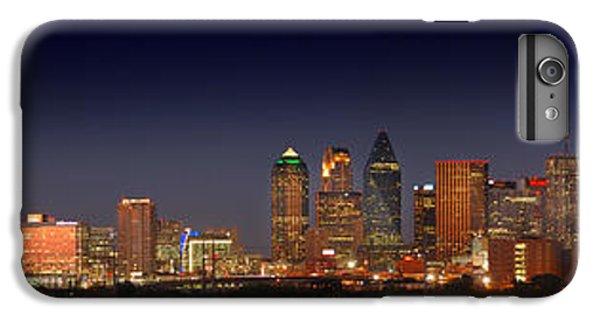 Dallas iPhone 7 Plus Case - Dallas Skyline At Dusk Big Moon Night  by Jon Holiday