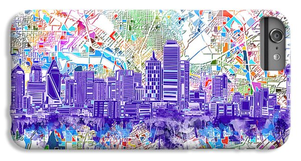 Dallas Skyline Map White 3 IPhone 7 Plus Case