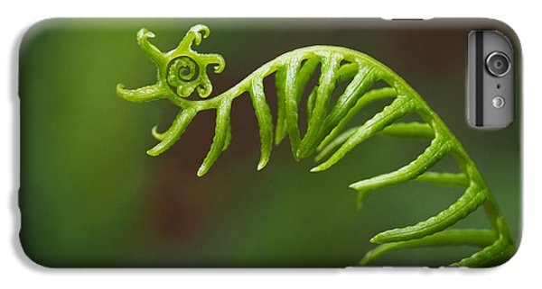 Deer iPhone 7 Plus Case - Delicate Fern Frond Spiral by Rona Black