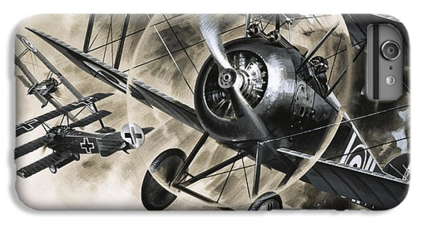 Dog Fight Between British Biplanes And A German Triplane IPhone 7 Plus Case by Wilf Hardy