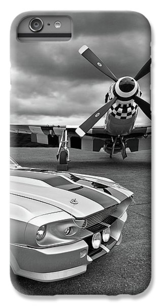 Airplane iPhone 7 Plus Case - Eleanor Mustang With P51 Black And White by Gill Billington