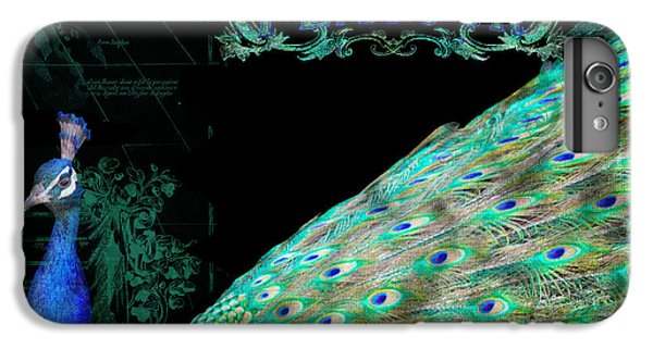 Elegant Peacock W Vintage Scrolls Typography 4 IPhone 7 Plus Case by Audrey Jeanne Roberts