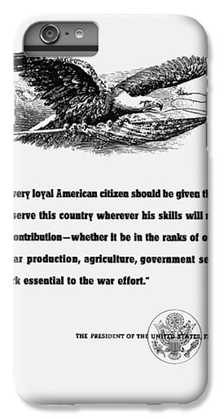 Eagle iPhone 7 Plus Case - Fdr War Quote by War Is Hell Store