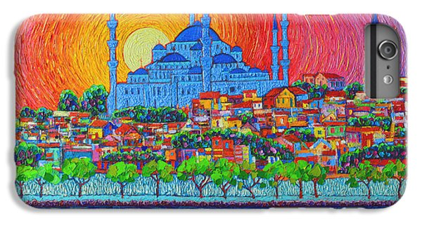 City Sunset iPhone 7 Plus Case - Fiery Sunset Over Blue Mosque Hagia Sophia In Istanbul Turkey by Ana Maria Edulescu