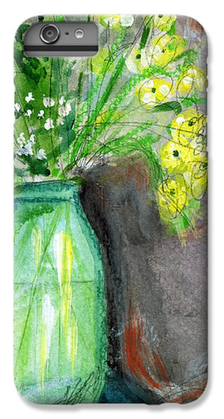 Daisy iPhone 7 Plus Case - Flowers In A Green Jar- Art By Linda Woods by Linda Woods