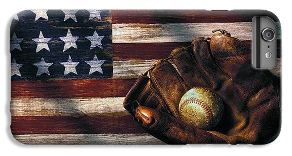 Sports iPhone 7 Plus Case - Folk Art American Flag And Baseball Mitt by Garry Gay