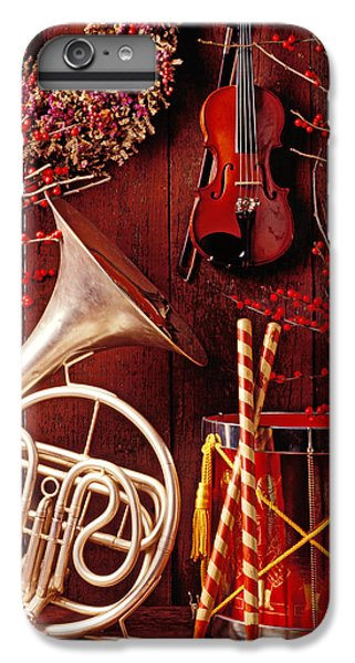 Drum iPhone 7 Plus Case - French Horn Christmas Still Life by Garry Gay