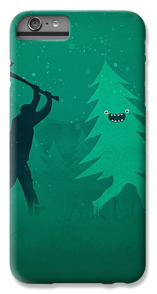 iPhone 7 Plus Case - Funny Cartoon Christmas Tree Is Chased By Lumberjack Run Forrest Run by Philipp Rietz