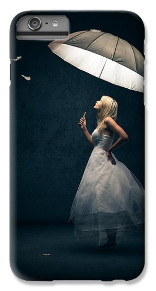 Fantasy iPhone 7 Plus Case - Girl With Umbrella And Falling Feathers by Johan Swanepoel