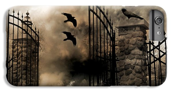 Gothic Surreal Fantasy Ravens Gated Fence  IPhone 7 Plus Case by Kathy Fornal