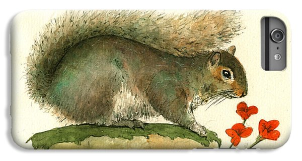 Gray Squirrel Flowers IPhone 7 Plus Case by Juan Bosco