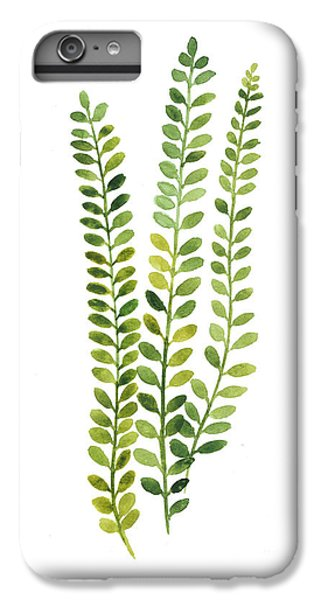 Garden iPhone 7 Plus Case - Green Fern Watercolor Minimalist Painting by Joanna Szmerdt