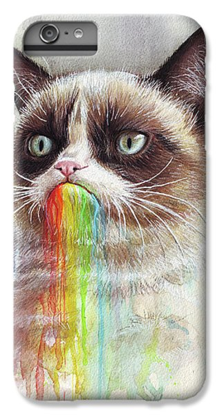 Cat iPhone 7 Plus Case - Grumpy Cat Tastes The Rainbow by Olga Shvartsur
