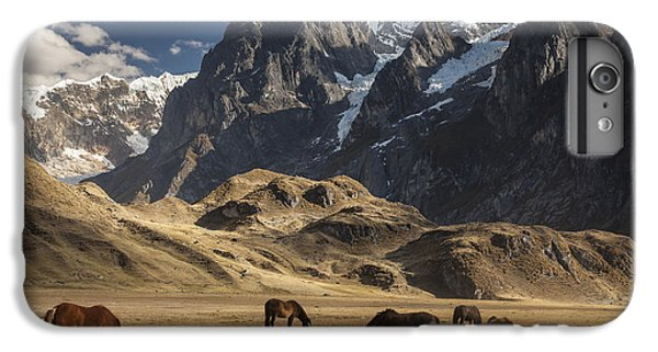 Mountain iPhone 7 Plus Case - Horses Grazing Under Siula Grande by Colin Monteath