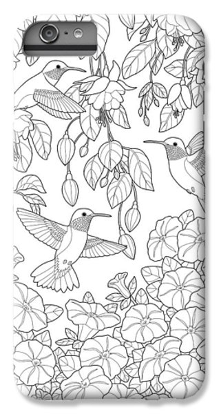 Adult Coloring Pages IPhone 7 Plus Case   Hummingbirds And Flowers Coloring  Page By Crista Forest