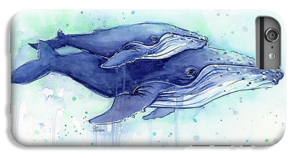 Humpback Whales Mom And Baby Watercolor Painting - Facing Right IPhone 7 Plus Case by Olga Shvartsur