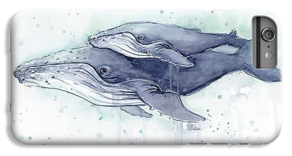 Whale iPhone 7 Plus Case - Humpback Whales Painting Watercolor - Grayish Version by Olga Shvartsur