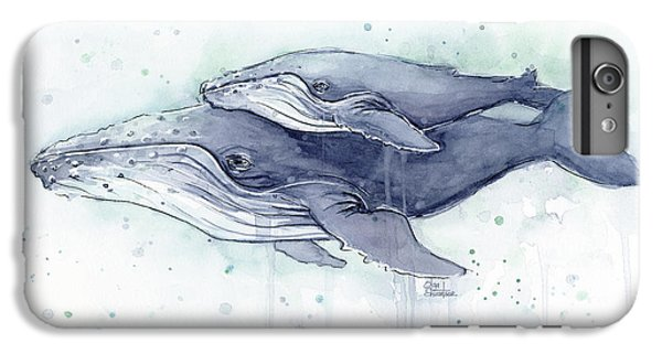 Humpback Whales Painting Watercolor - Grayish Version IPhone 7 Plus Case by Olga Shvartsur