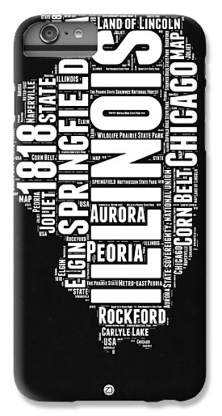 University Of Illinois iPhone 7 Plus Case - Illinois Black And White Word Cloud Map  by Naxart Studio