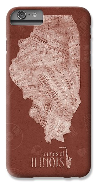 University Of Illinois iPhone 7 Plus Case - Illinois Map Music Notes 5 by Bekim Art