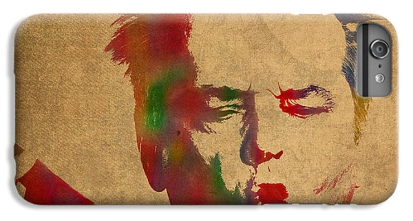 Jack Nicholson Smoking A Cigar Blowing Smoke Ring Watercolor Portrait On Old Canvas IPhone 7 Plus Case