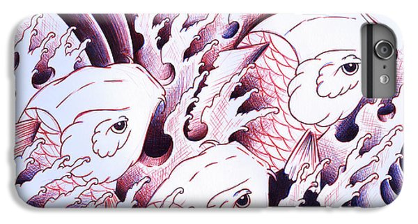 Koi iPhone 7 Plus Case - Koi Carps In Water Tattoo Art by Samuel Whitton