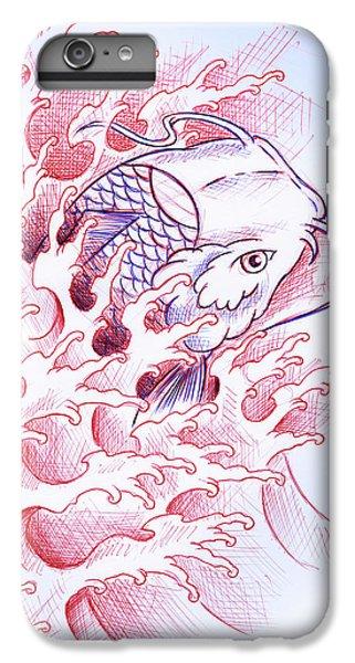 Koi iPhone 7 Plus Case - Koi Tattoo Sketch by Samuel Whitton