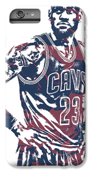 Lebron James iPhone 7 Plus Case - Lebron James Cleveland Cavaliers Pixel Art 25 by Joe Hamilton