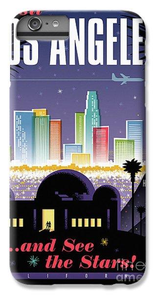 Los Angeles Skyline iPhone 7 Plus Case - Los Angeles Retro Travel Poster by Jim Zahniser
