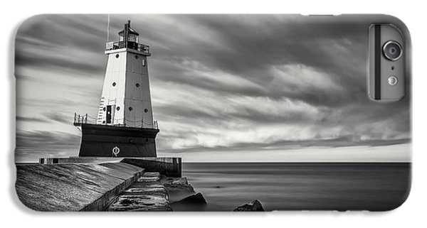 IPhone 7 Plus Case featuring the photograph Ludington Light Black And White by Adam Romanowicz