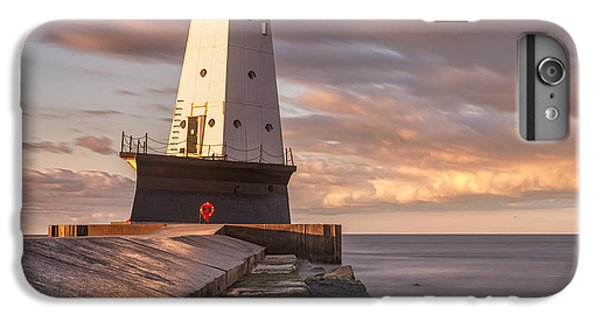 IPhone 7 Plus Case featuring the photograph Ludington North Breakwater Light At Dawn by Adam Romanowicz