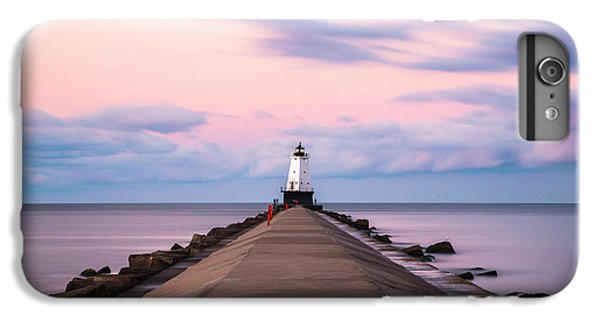 IPhone 7 Plus Case featuring the photograph Ludington North Breakwater Light Sunrise by Adam Romanowicz