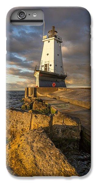 IPhone 7 Plus Case featuring the photograph Ludington North Breakwater Lighthouse At Sunrise by Adam Romanowicz