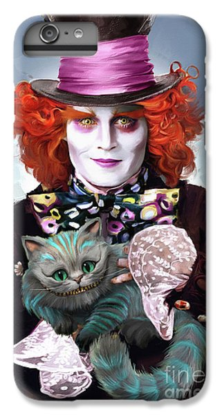 Johnny Depp iPhone 7 Plus Case - Mad Hatter And Cheshire Cat by Melanie D