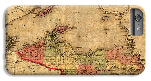 Lake Superior iPhone 7 Plus Case - Map Of Michigan Upper Peninsula And Lake Superior Vintage Circa 1873 On Worn Distressed Canvas  by Design Turnpike