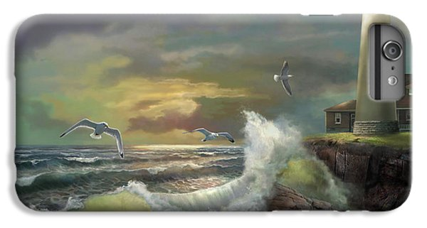 Seagull iPhone 7 Plus Case - Michigan Seul Choix Point Lighthouse With An Angry Sea by Regina Femrite