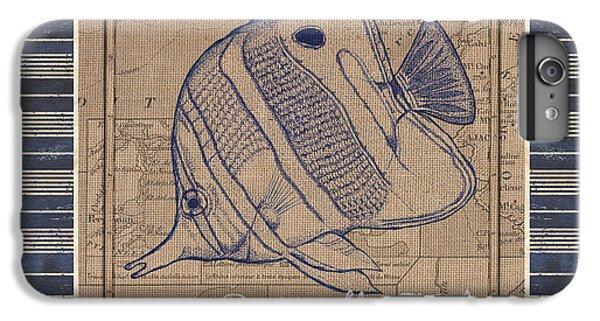 Marine iPhone 7 Plus Case - Nautical Stripes Butterfly Fish by Debbie DeWitt