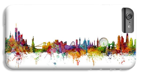 Broadway iPhone 7 Plus Case - New York And London Skyline Mashup by Michael Tompsett