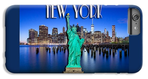 Statue Of Liberty iPhone 7 Plus Case - New York Classic Skyline With Statue Of Liberty by Az Jackson