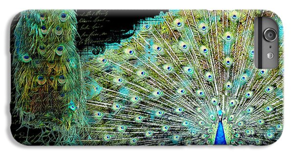 Peacock Pair On Tree Branch Tail Feathers IPhone 7 Plus Case by Audrey Jeanne Roberts