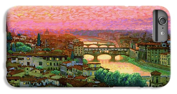 Peach iPhone 7 Plus Case - Ponte Vecchio Sunset Florence by Jane Small