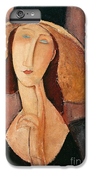 Portraits iPhone 7 Plus Case - Portrait Of Jeanne Hebuterne In A Large Hat by Amedeo Modigliani