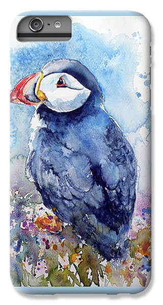 Puffin iPhone 7 Plus Case - Puffin With Flowers by Kovacs Anna Brigitta