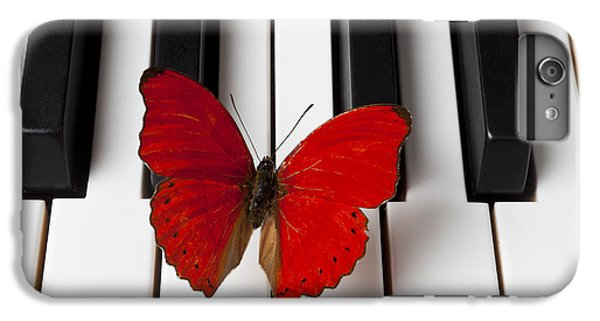 Insects iPhone 7 Plus Case - Red Butterfly On Piano Keys by Garry Gay