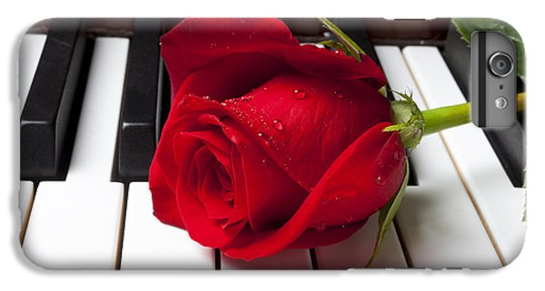 Red iPhone 7 Plus Case - Red Rose On Piano Keys by Garry Gay