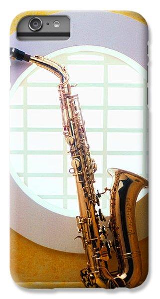 Saxophone iPhone 7 Plus Case - Saxophone In Round Window by Garry Gay