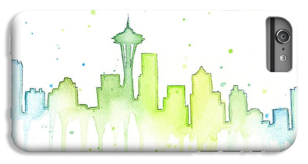 Space iPhone 7 Plus Case - Seattle Skyline Watercolor  by Olga Shvartsur