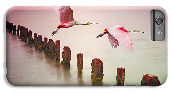 Spoonbill iPhone 7 Plus Case - Soaring Spoonbills by Laura D Young
