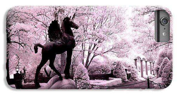 Surreal Infared Pink Black Sculpture Horse Pegasus Winged Horse Architectural Garden IPhone 7 Plus Case