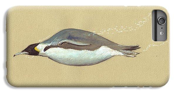 Penguin iPhone 7 Plus Case - Swimming Penguin Painting by Juan  Bosco